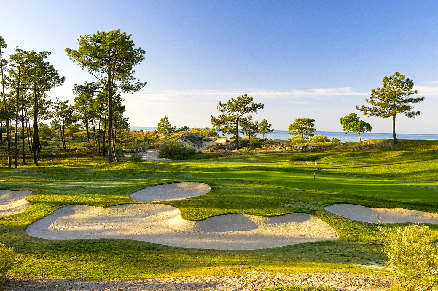 The dramatic par-3 2nd hole at Troia in Setubal, Portugal.