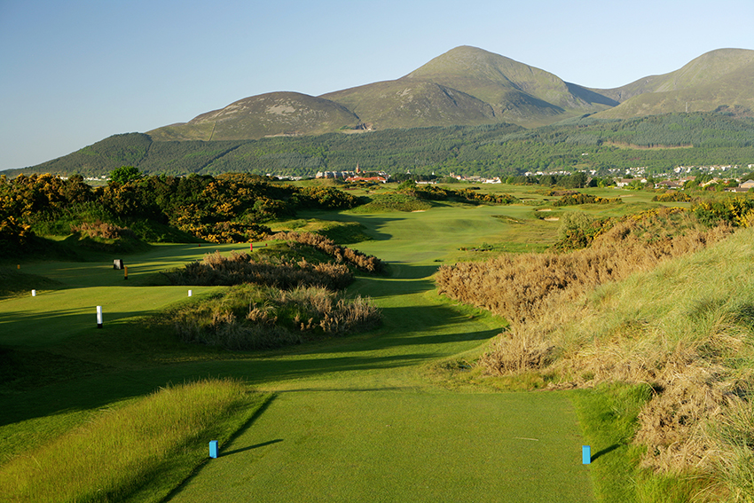 The par-4 16th at Royal County Down looks simple enough, but clever bunkering will punish anyone who gets too greedy from the tee.