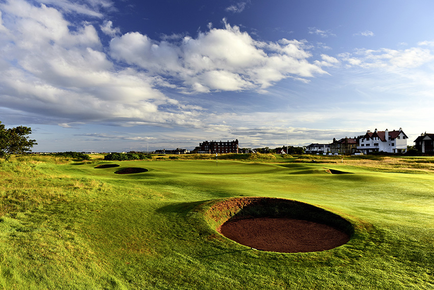 The 542-yard 16th, Well, is the only par 5 on the back nine at Royal Troon. The burn and bunkers provide the protection.