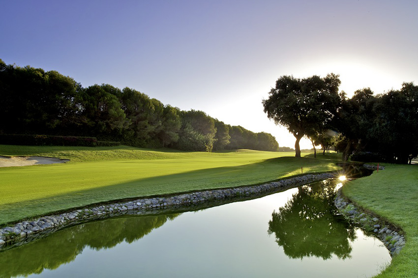 A view back down the 17th fairway at Valderrama from the left side of the hole.