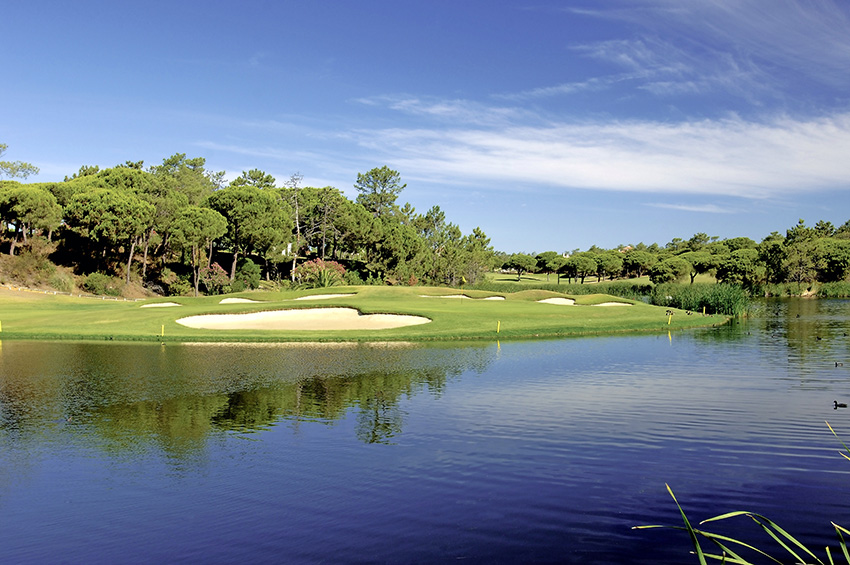 The danger posed by water is clear on the renowned risk-reward closing hole at San Lorenzo Golf Course.