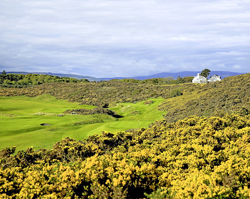 A wonderful view from the 7th tee back over the green of the par-3 6th at Royal Dornoch Golf Club.
