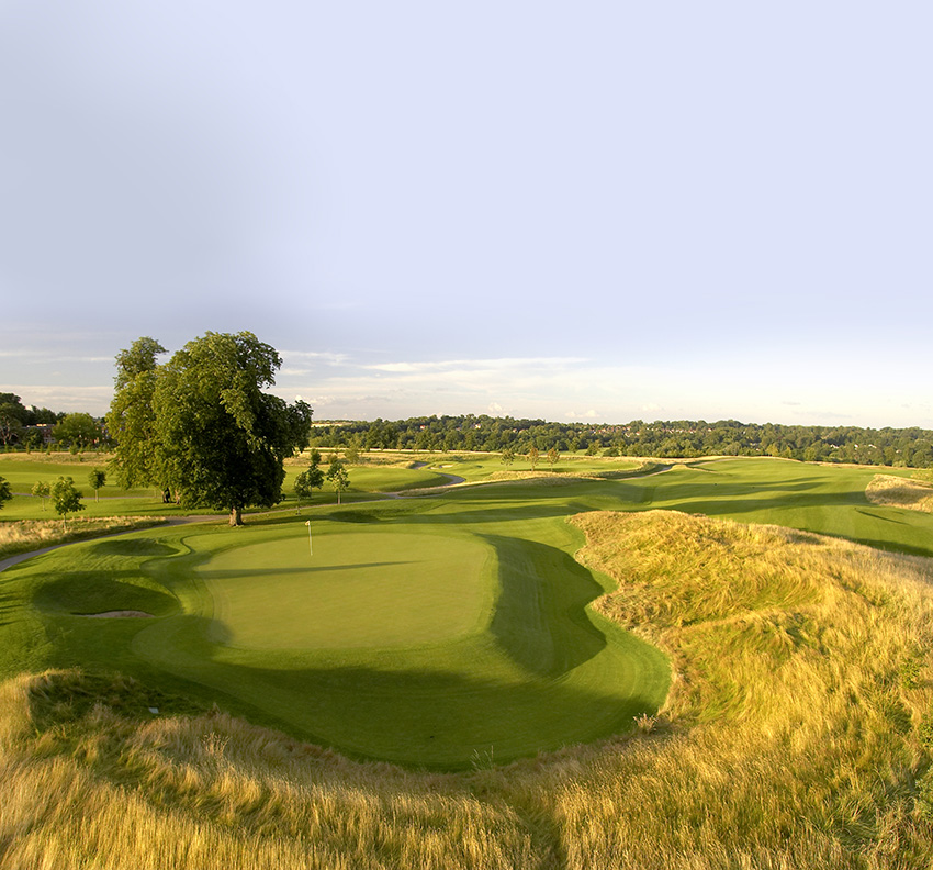 The gully to the left of the 17th green is typical of the short-game tests at The Grove should you miss the target.