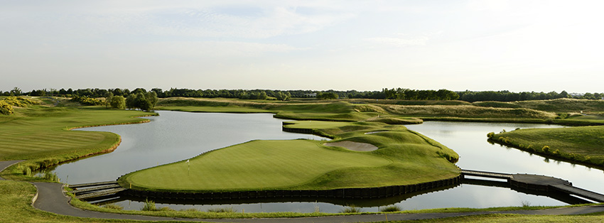 Water is never out of your mind as you play the closing hole on L'Albatros at Le Golf National