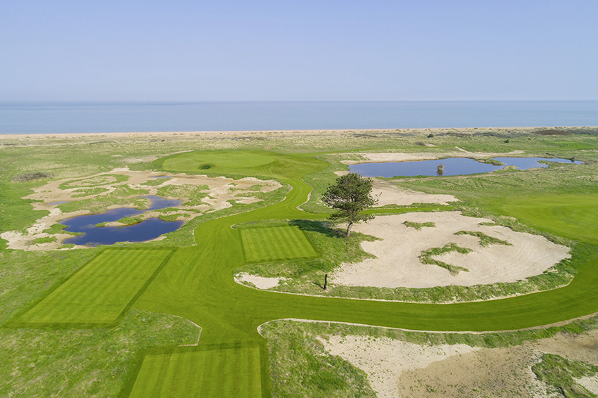 An aerial view of the all-new 5th hole at Prince's Himalayas course in Kent.