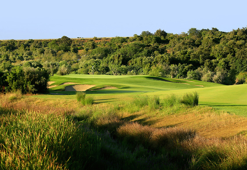 The first par 5 at Amendoeira's Faldo course is a birdie chance… if you are brave enough.