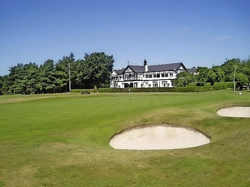 The 16th green at Stockport Golf Club in England.