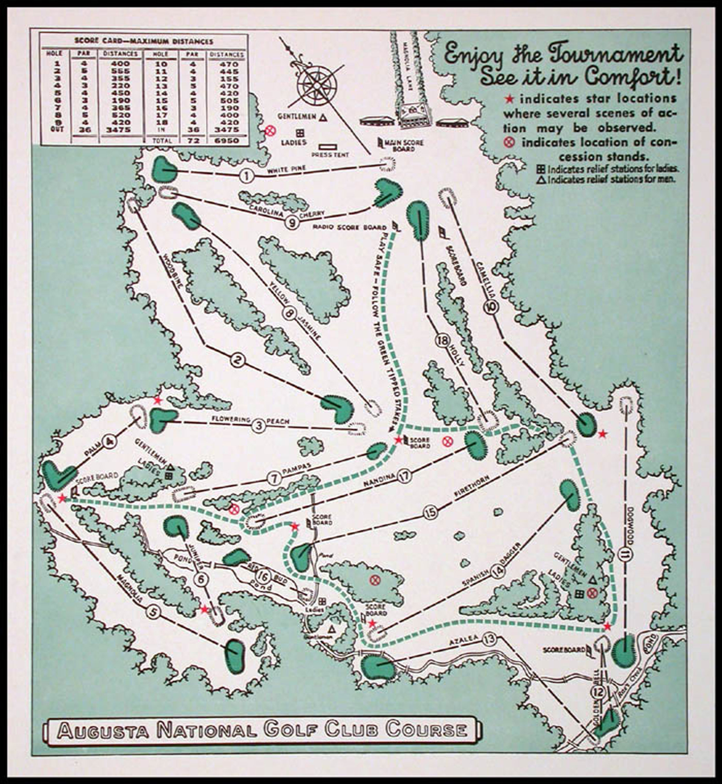 A map of the Augusta National course for the 1940 Masters Tournament.