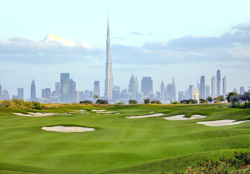 The new Dubai Hills golf course in Dubai offers stunning views of the city's skyline.