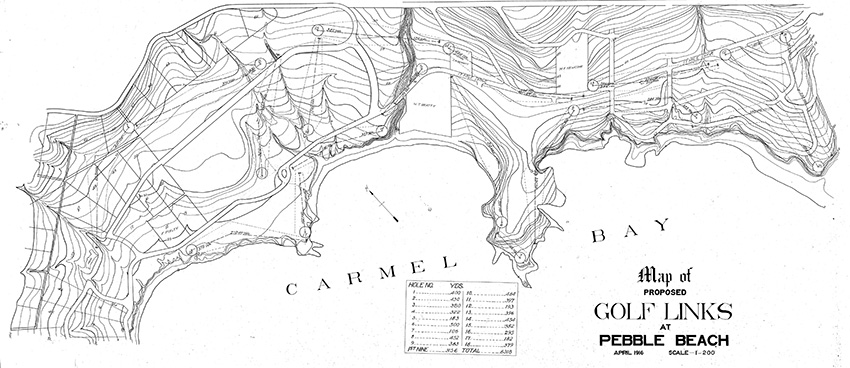An early draft of the original routing of Pebble Beach from 1916.