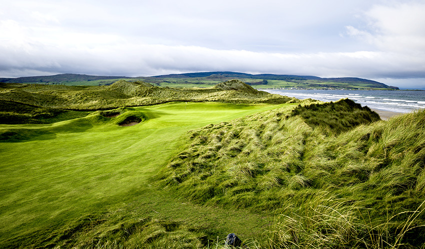 The walk to the 14th green provides stunning views across the water to the small but welcoming village of Machrihanish.