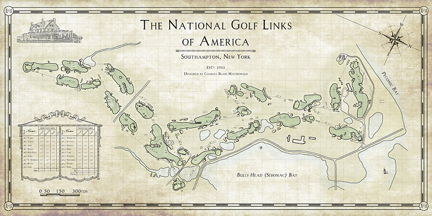 National Golf Links opened in 1911. This map shows how Macdonald adapted famous holes including Royal St George's' 3rd (2nd), Prestwick's 17th (3rd), North Berwick's 15th (4th), St Andrews' 11th and 17th (13th and 7th) and Sunningdale Old's 12th (8th).