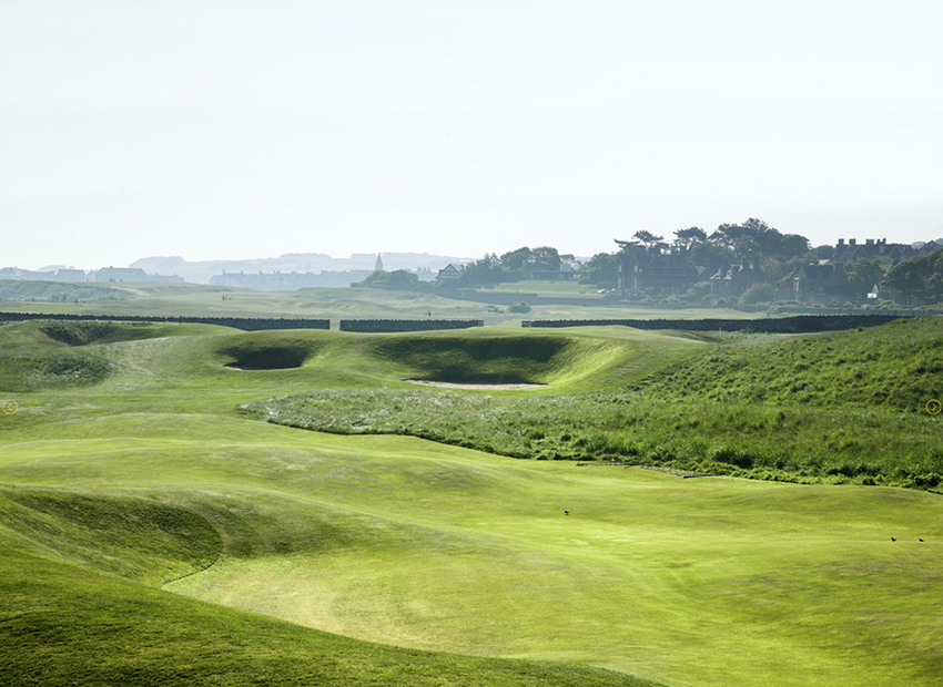 The Redan green at the 15th hole at North Berwick in Scotland.