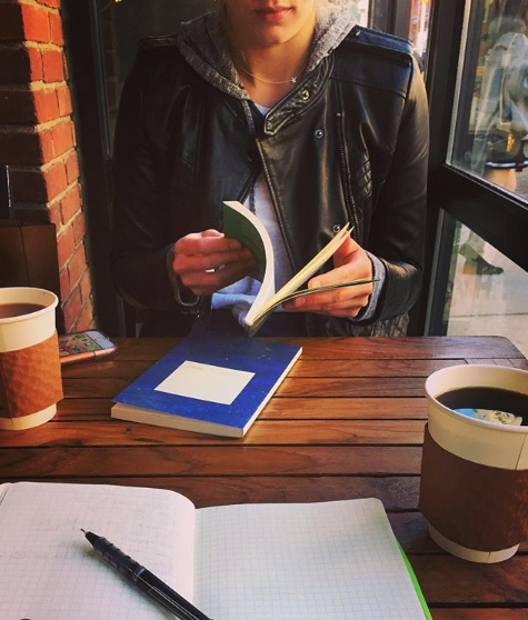 One of my first weekends in New York, reading new poetry books at a coffee shop with Matt.
