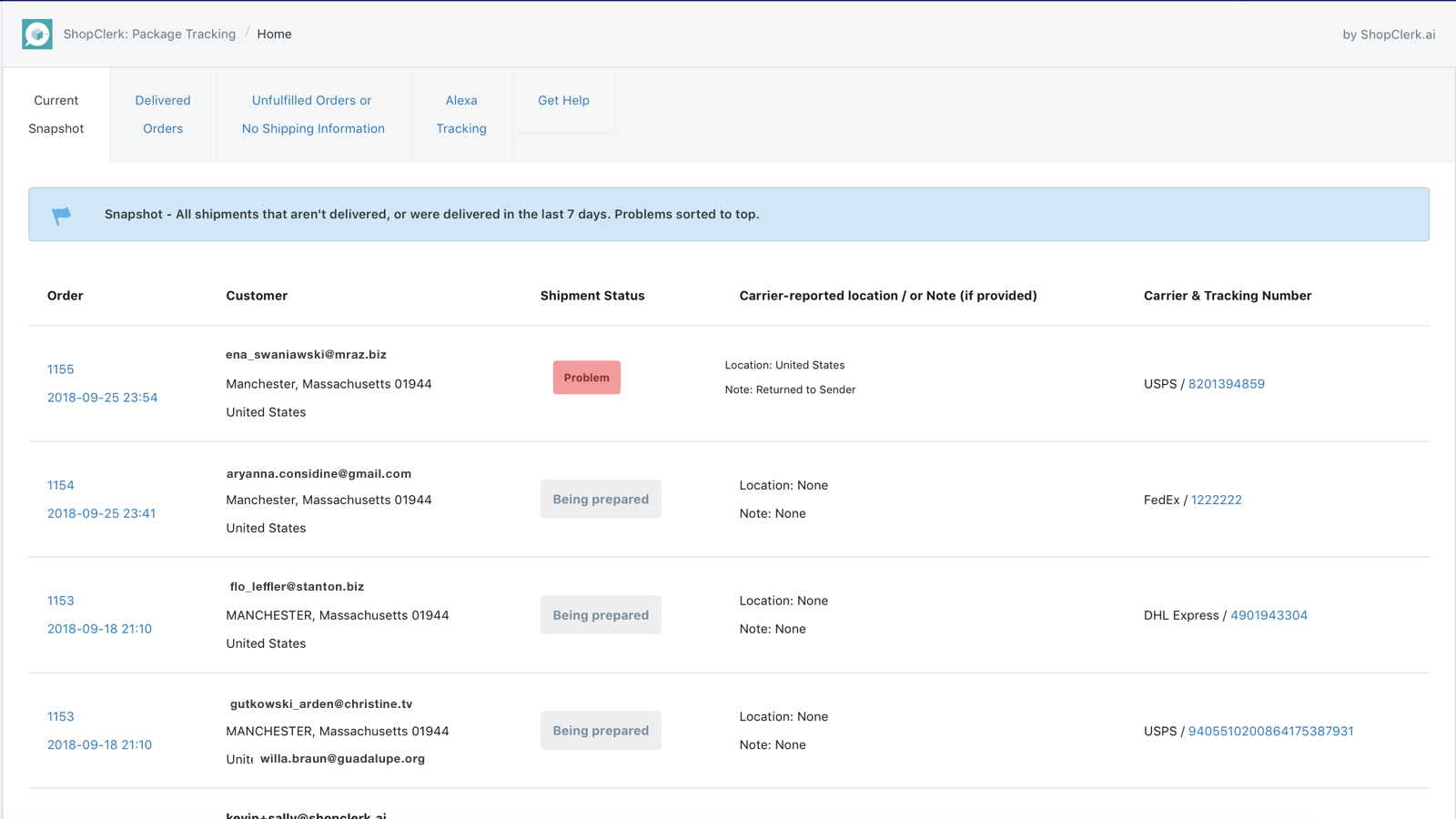 Actionable DASHBOARDS - Get notified about any problems for over 400 worldwide shipping carriers.
