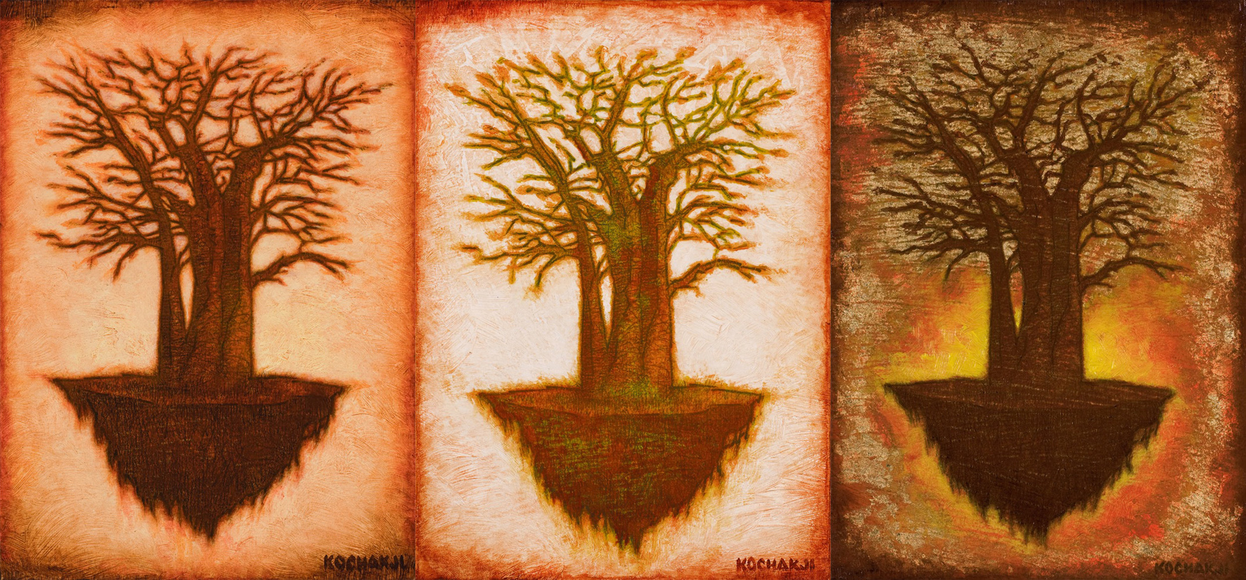 "Umber Root, Ochre Root, Golden Root - oil on panel - 4x6"" (each)"