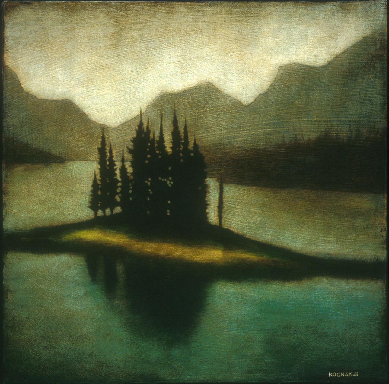 "Christmas Tree Island - oil on canvas - 12x12"""