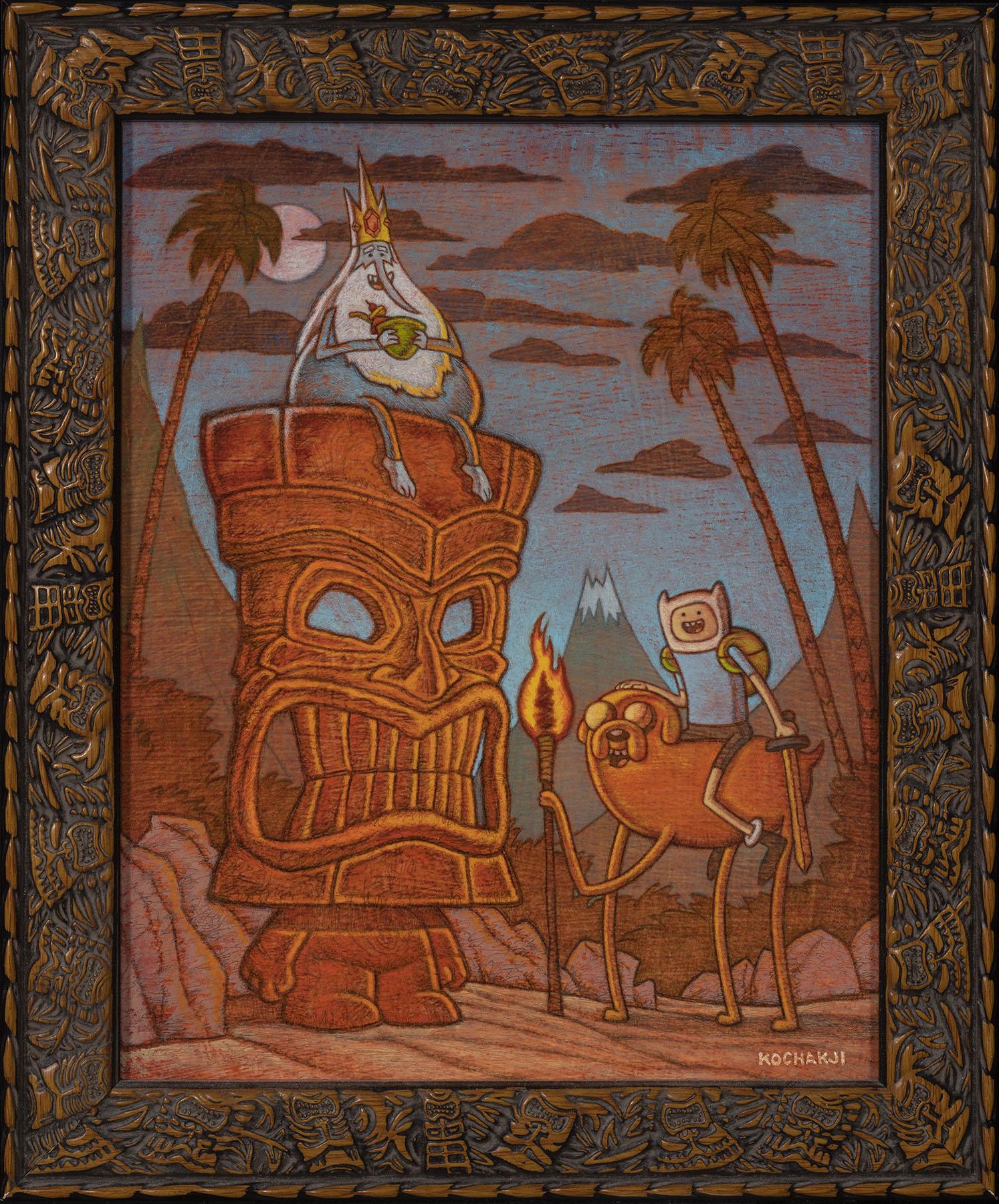 """Adventure Time Tiki - oil on panel - 8x10"""" - Van Eaton Galleries - Animation Tiki"""
