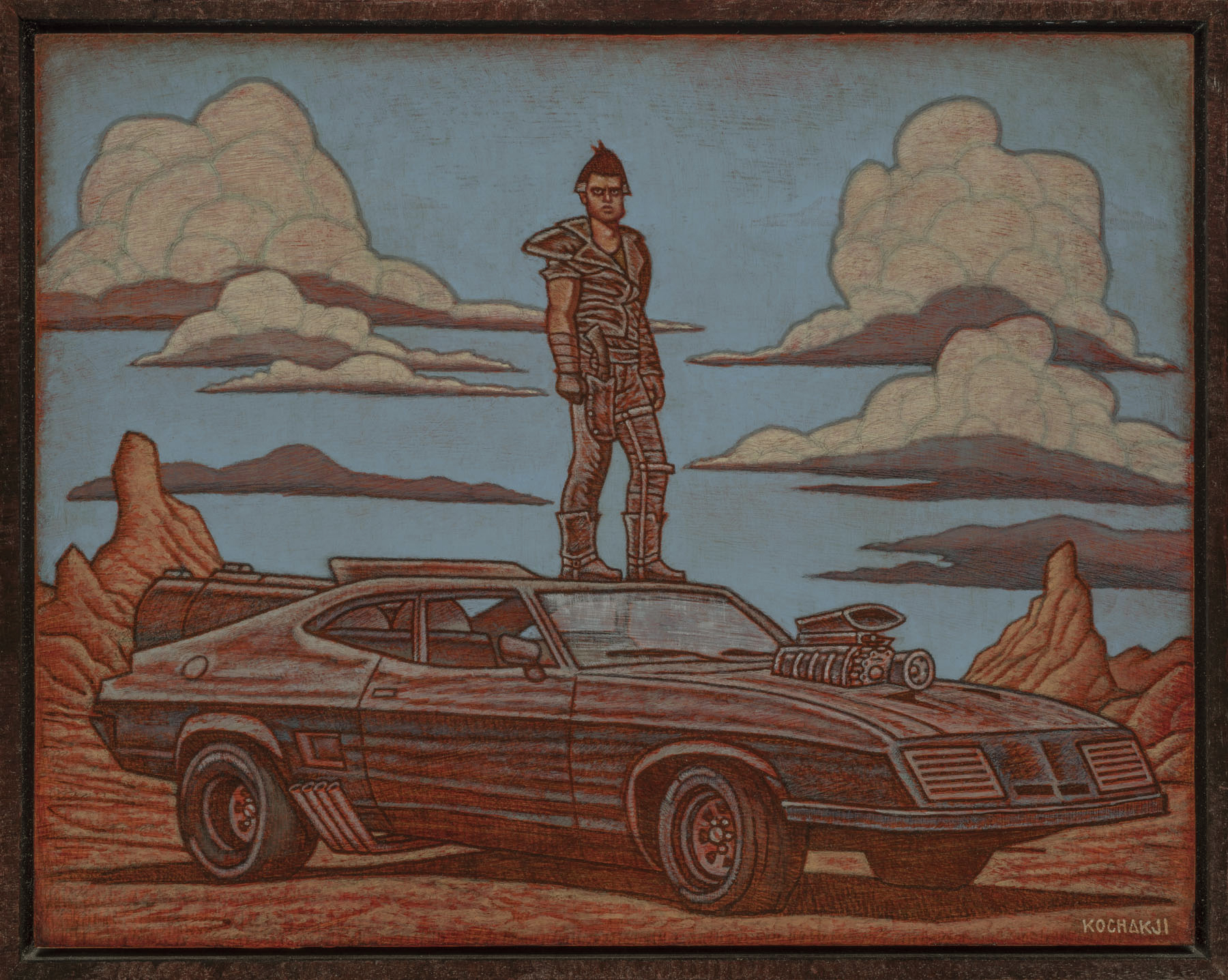"""The Road Warrior - oil on panel - 14x11"""" - Creature Features - Mad Max Tribute"""