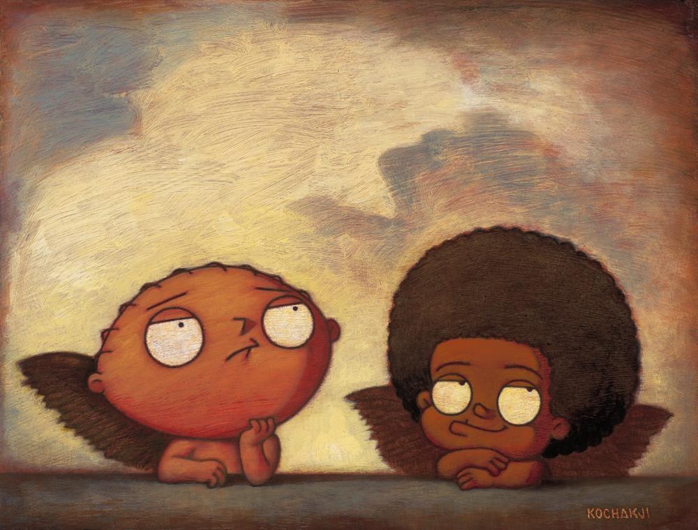 "Cherubs - oil on panel - 14x11"" - Fox Gallery - Masterworks"