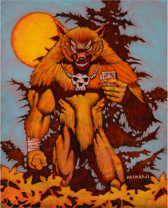 "Fineous Dougan (Werewolf) - oil on board - 6.75x8"" - Rage: The Wild West - White Wolf Publishing"