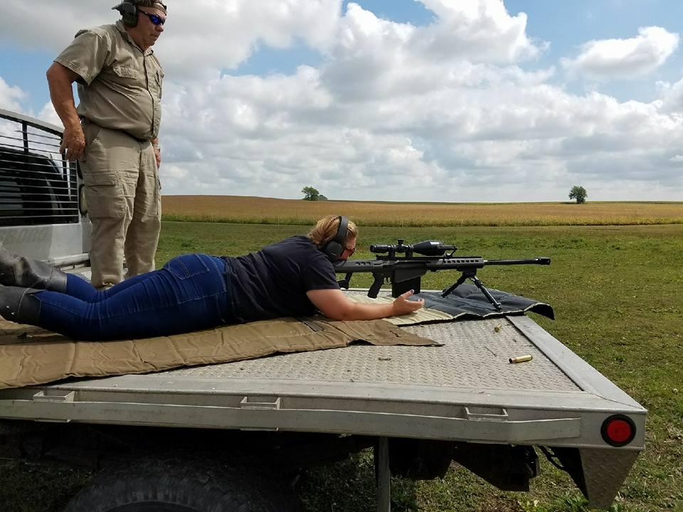 Mary Callison Enjoying and learning about the Barrett 50 Cal