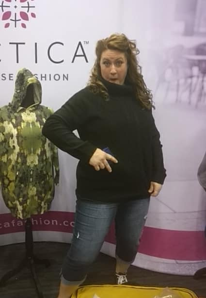 Mary Callison had the opportunity to be a part of the Fashion and Firearms fashion show during NRAAM Indy 2019. She modeled the ultra comfortable Tactica Defense Fashion Conceal Carry Sweater along with the belly band w kydex holster underneath. It is great to see women being able to be stylish, as well as #prepared2protect!