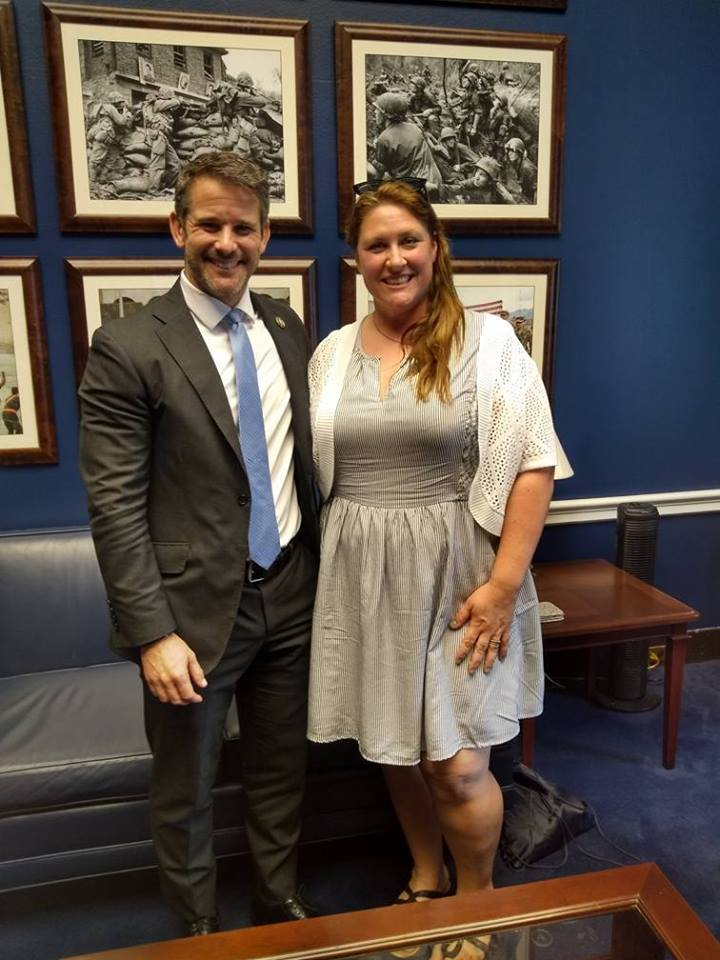 Mary Callison met with her Representative, Adam Kinzinger, while in Washington DC June 2018 for The DC Project. She is lucky to have a representative who is for the people and their rights, who has served his country in the Air Force, and is currently with the National Guard, back recently from flying missions along the Mexico border.