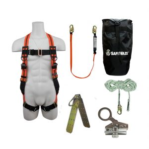 Roofer's Fall Protection Kit with Dual Cam Rope Grab in a Backpack