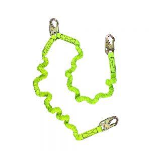 6' Dual-Leg Stretch Low-Profile Shock Lanyard w/ Double-Locking Snap Hooks