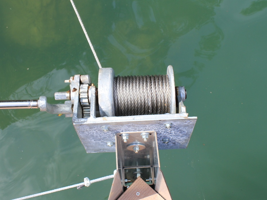 Marina dock winch. These can use galvanized wire rope or stainless steel wire rope. usually 1/2 and 5/8 6x19.