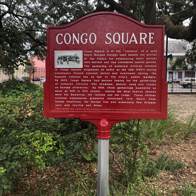 Congo Square. In 1724, slaves were permitted to visit during their days off on Sunday. They would come here to dance, sing, drum, and eventually sell goods.