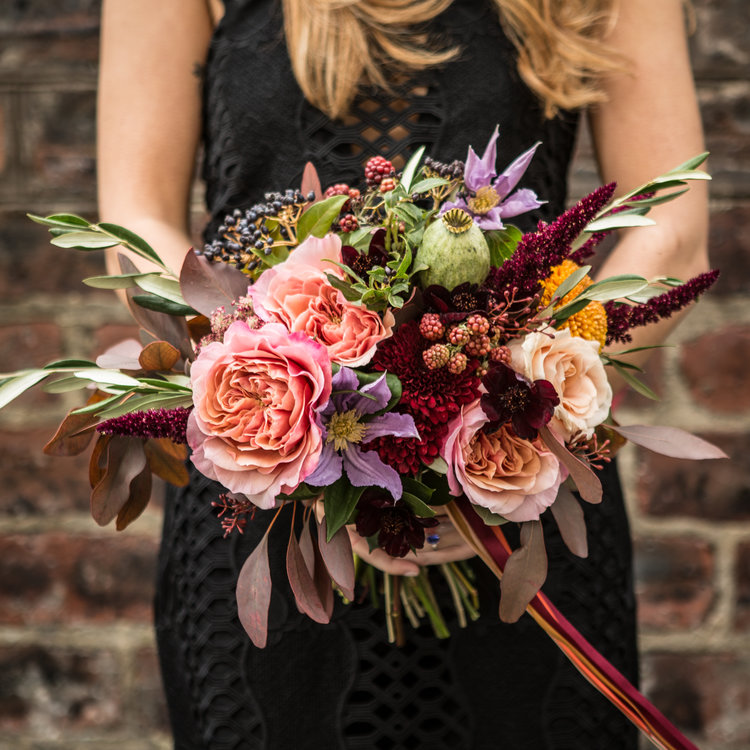 Bride + Bride - Our Bride + Bride package includes a minimum of two bridal bouquets, a buttonhole, and one footed urn table centre. Multiples of any item can be added at checkout. Choose your colour palette and we'll do the rest.