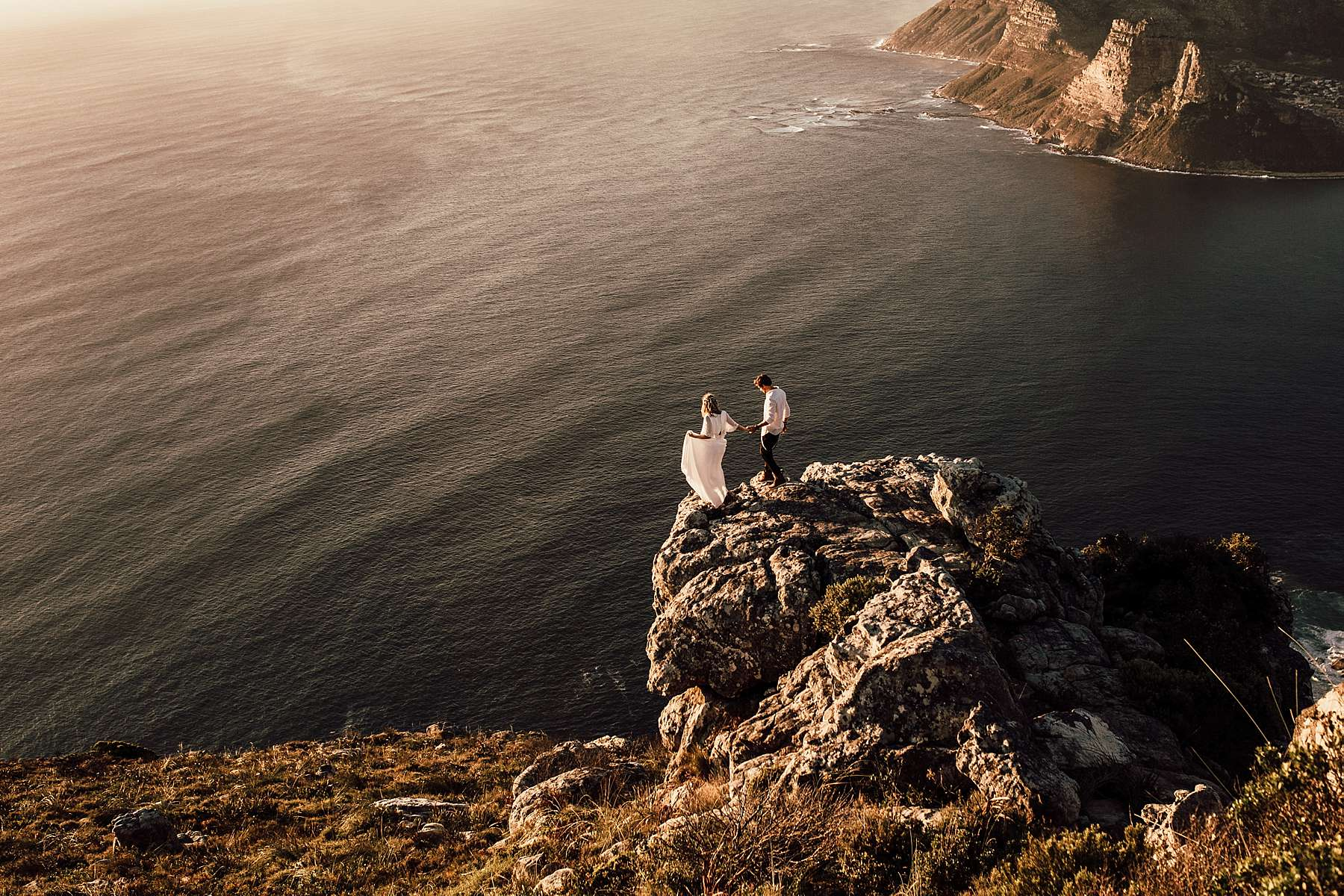 A bride and groom at their elopement in Cape Town