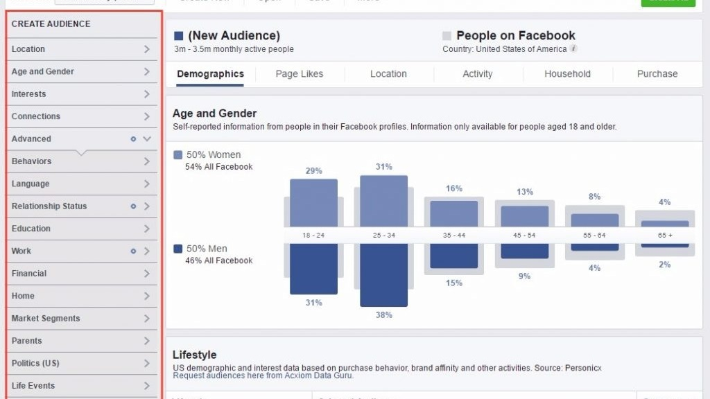 Creating an audience with Facebook Audience Insights.