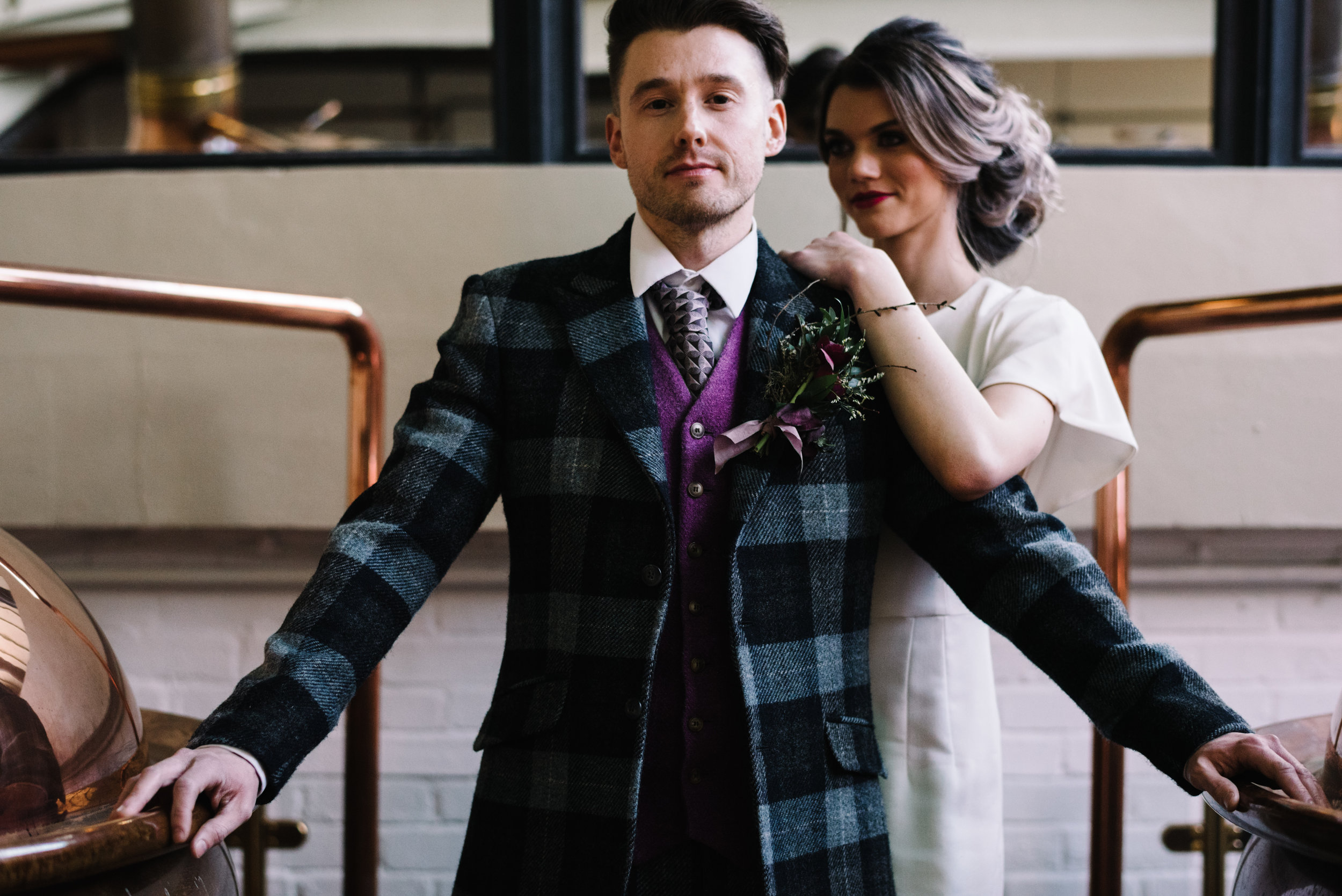 Modern, stylish wedding shoot at Glasgow's WEST Brewery.   Read the article in Mrs P and P