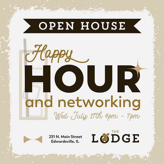 Join us for an Open House Happy Hour and networking event at The Lodge on Main St. in Edwardsville! Check out our space and what we have to offer while you do some networking with local business owners and Lodge members. We hope to see you there! #office #coworking #coworkingspace #edwardsville #thelodgeworks #thelodge #happyhour #networking