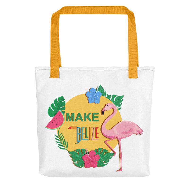 Goede Make Belize (Both Sides) - Yellow Handle - Tote Bag (15x15in TP-94