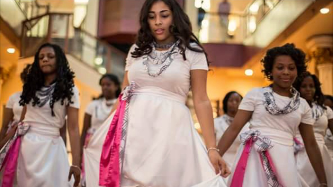 Students from Girls Academy Newark, created their neck pieces and assisted in making skirts for their graduating class.