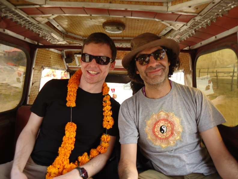 Stewart and Ali in the rickshaw