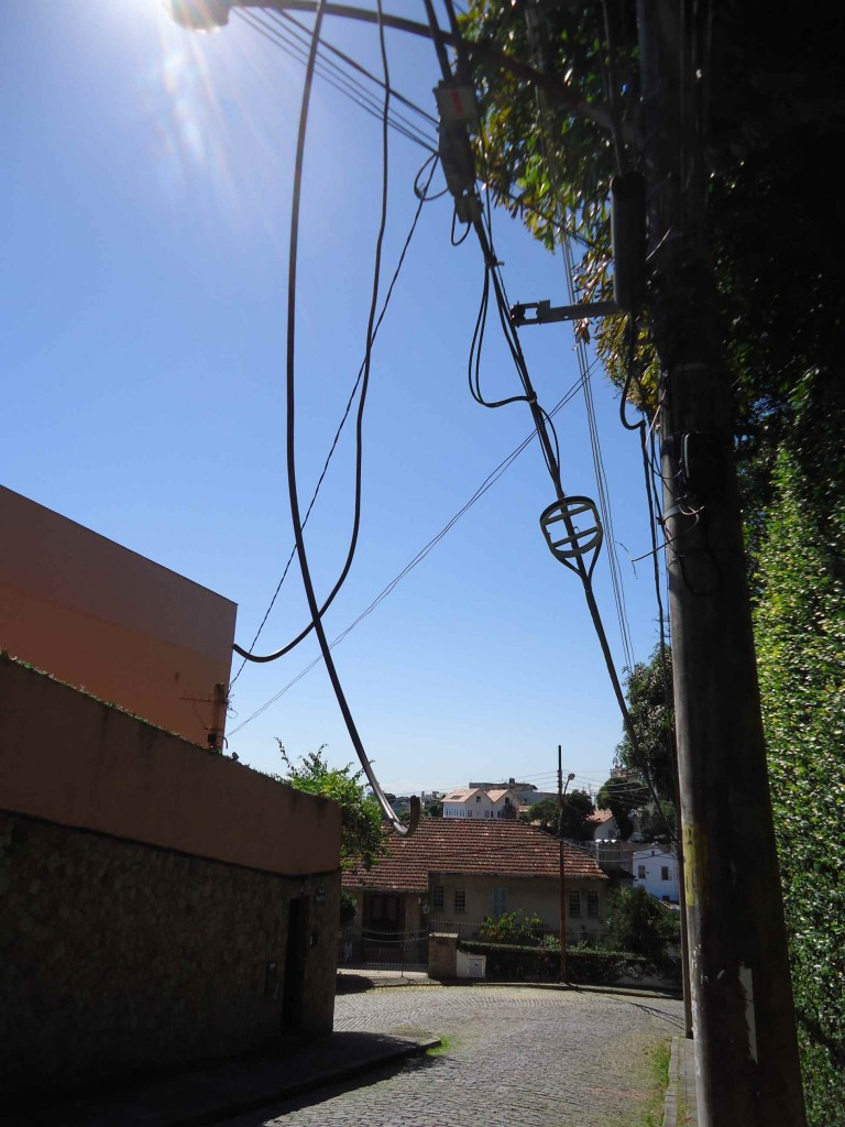 Wires hang down at head-height