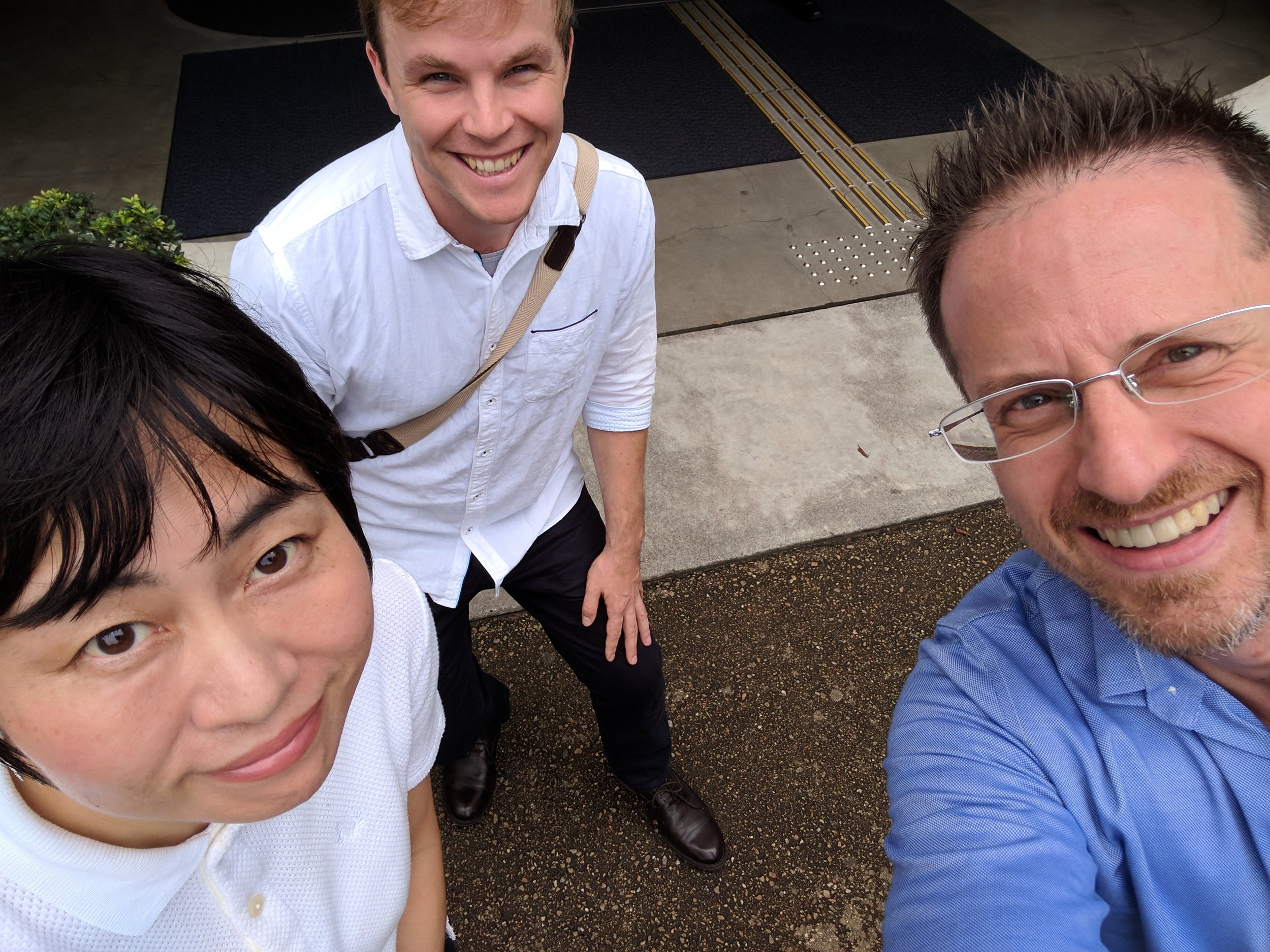 Spencer and Eric with Japanese poet, professor and sociologist Kiriu Minashita, Tokyo, August 2017.