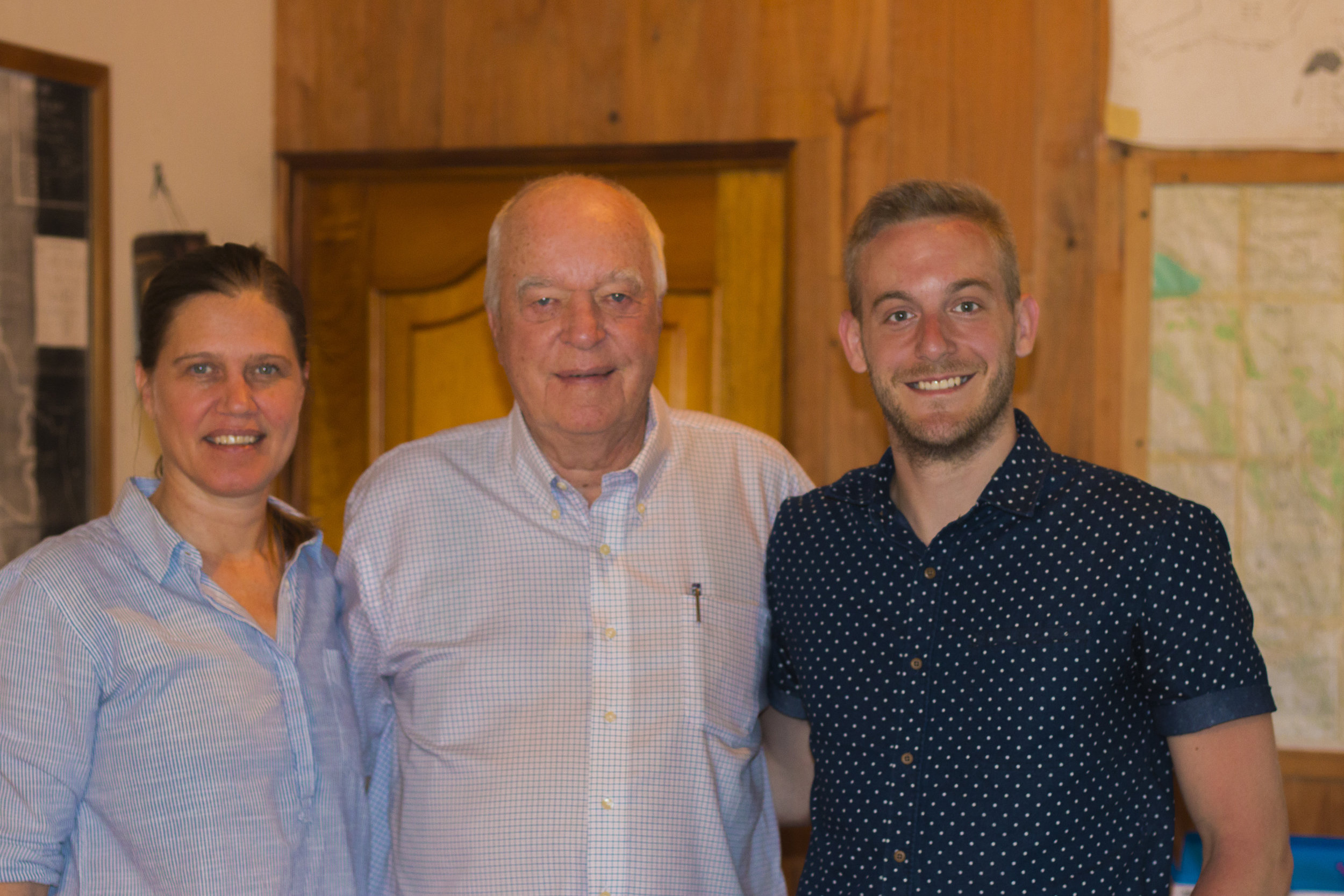 Ryan with Mr. Peterson and his daughter Rachel, owners of one of the most prestigious farms in Panama.