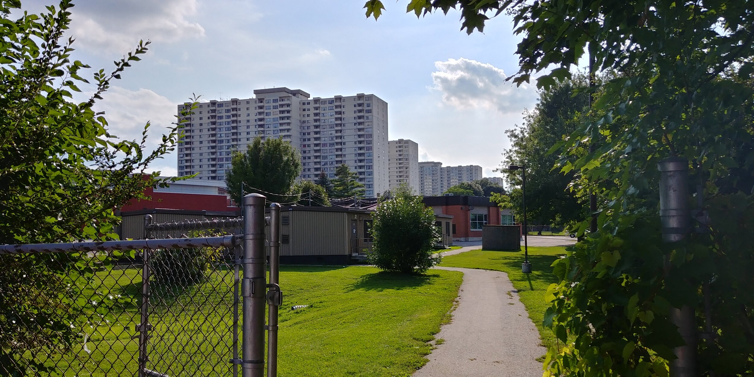 A view of the portables where Elissa teaches English. In the background are the condo buildings that comprise some of her neighbourhood.