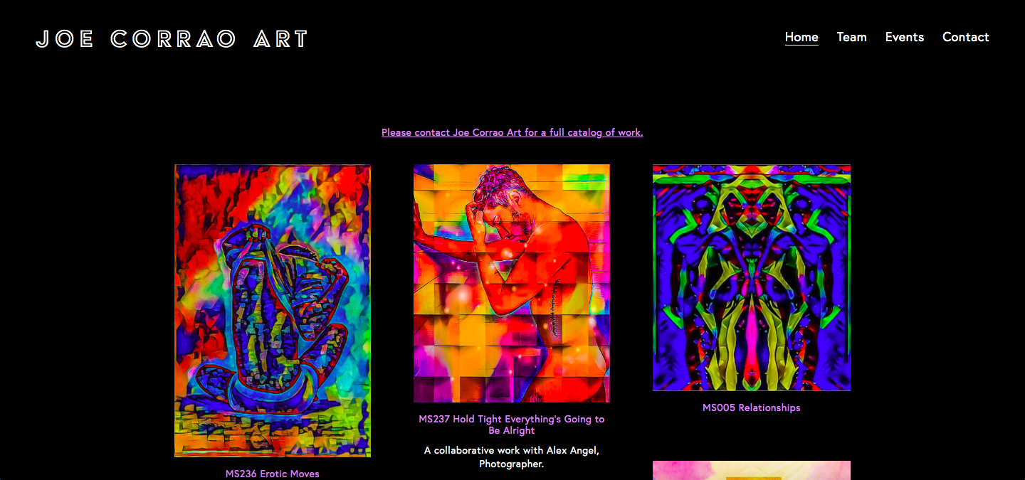 Joe Corrao art - Joe is a visual artist based is Los Angeles, CA. We worked together to help his website come to life: a simple design that helped allow his artwork to jump off the page.