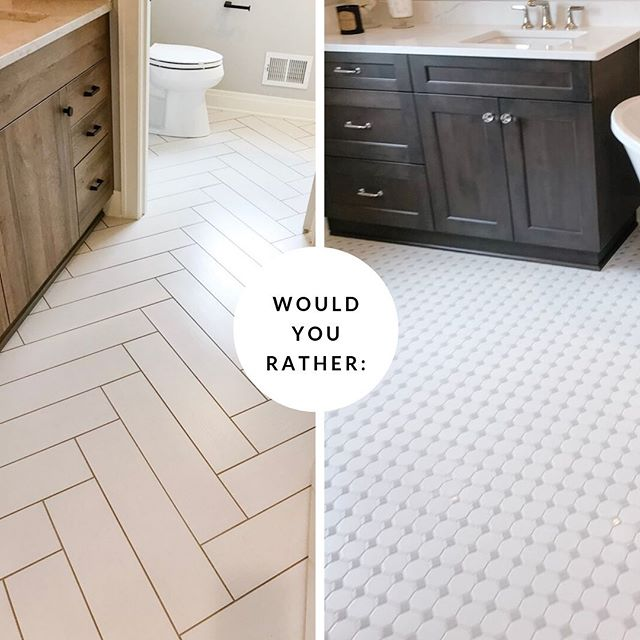 ONE PROJECT TO GIVE YOUR BATHROOM A MAKEOVER AND A ROUND OF WOULD YOU RATHER:  Update your flooring! Whether you opt to paint over an existing pattern to modernize your bathroom floors or you rip it out and put in something new.. bathroom flooring can be updated at a relatively low cost. Which pattern would you rather have in your bathroom – the left or the right tile? #shorelivingbydesign #juliestevensonrealestate