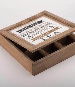 Caja para té, madera. -