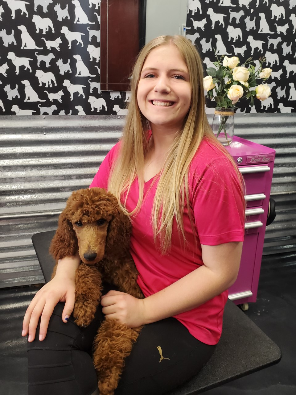 Meet Jayna!   I have been working at Shampooch Pet Styles for a little over a year now. I started out as a receptionist, but now i'm a trained bather. I am an animal lover, which makes me love my job even more. I recently graduated from Chaparral High School and am eager to keep learning more about the trade. I can't wait until I'm a fully trained pet stylist!