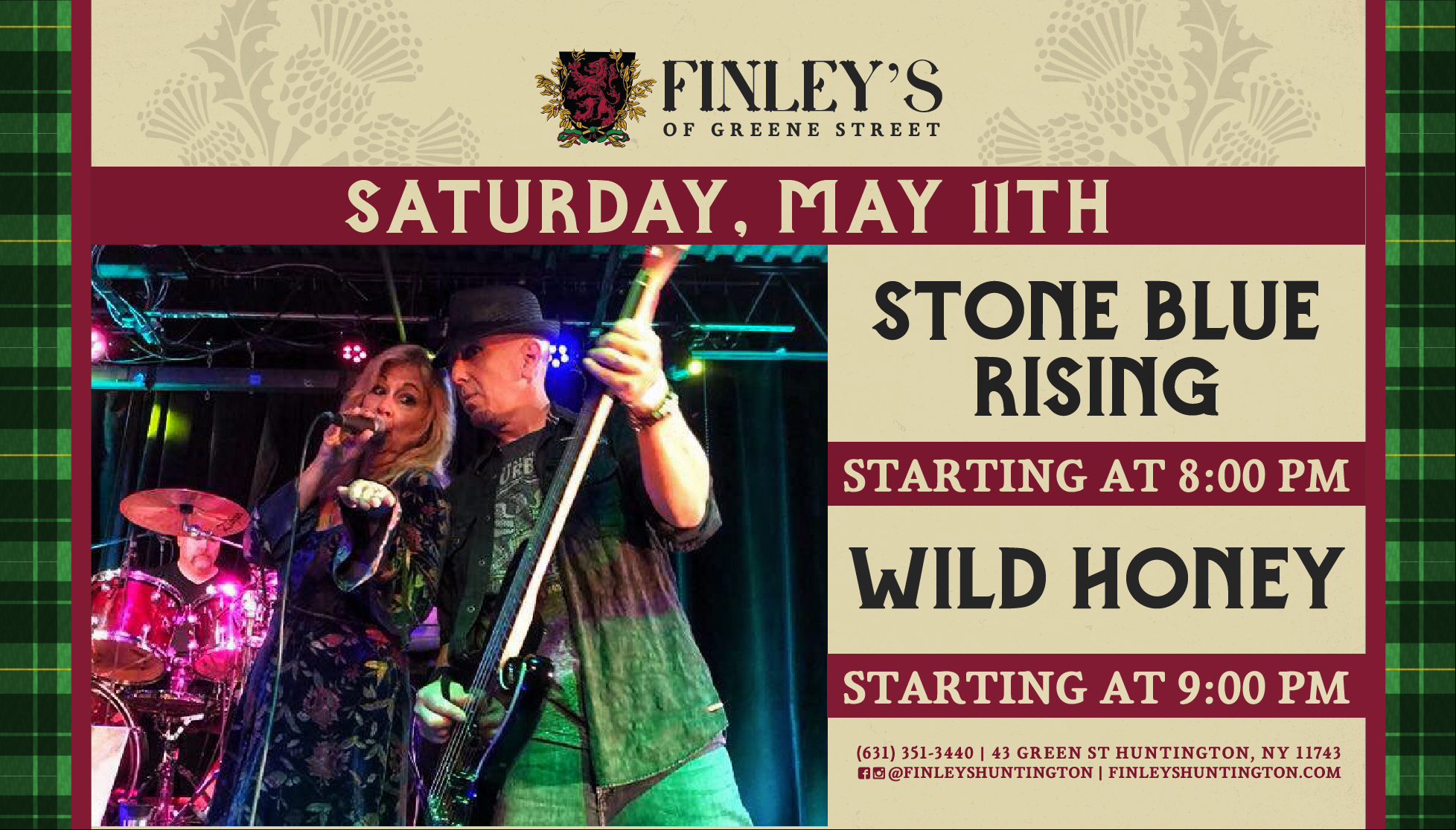 Flyer for live music with Stone Blue Rising & Wild Honey