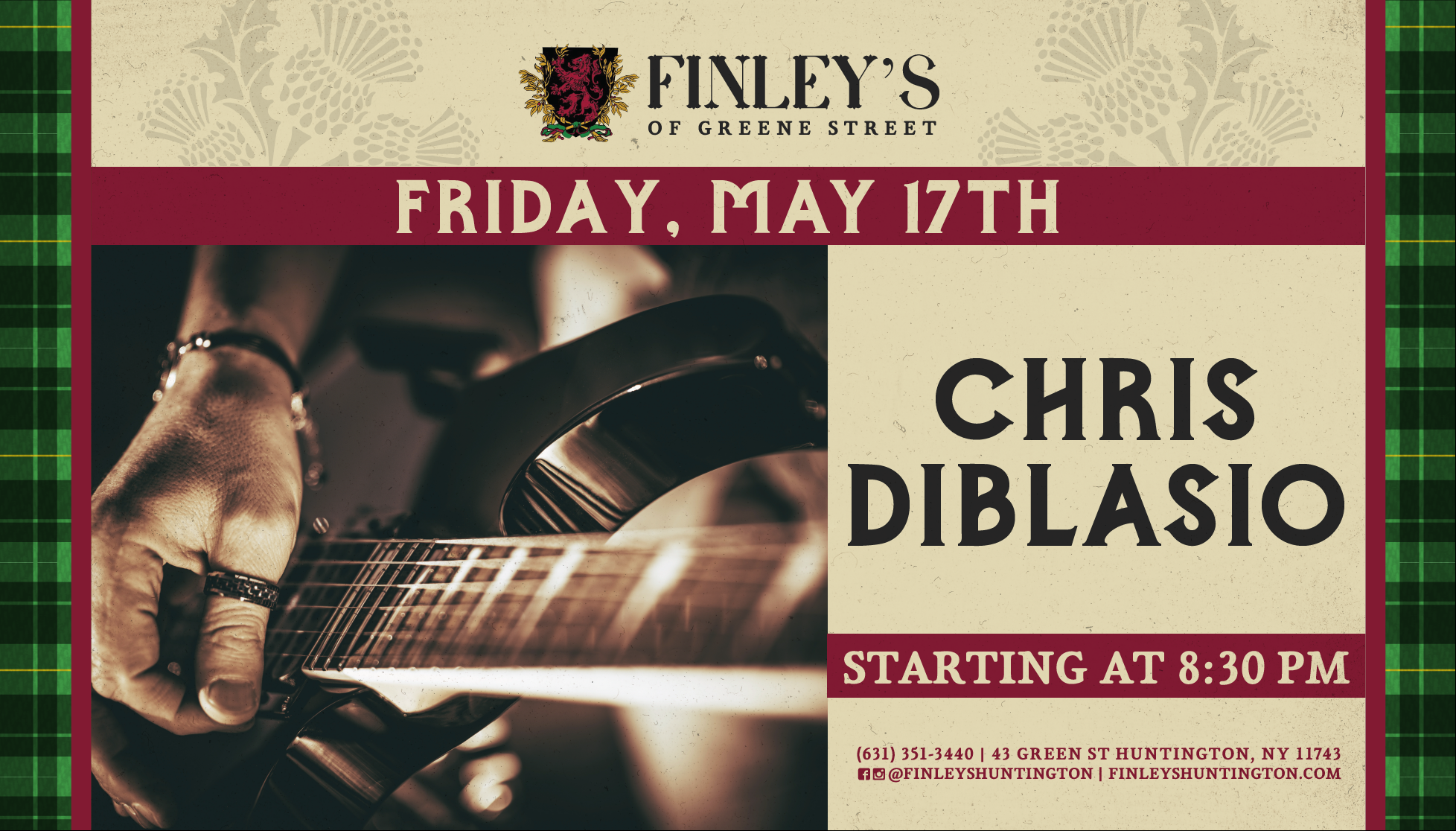Flyer for live music with Chris Diblasio